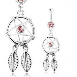 Oceľový piercing do bruška, lapač snov s pierkami a ružovým zirkónom