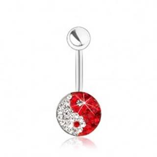 Oceľový piercing do bruška, symbol Jin a Jang, číre a červené zirkóniky