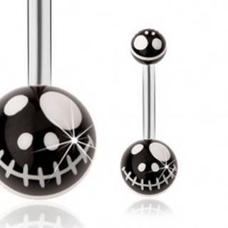 Oceľový piercing do pupka, čierne guličky - motív kreslenej lebky z rozprávky