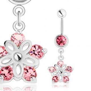 Oceľový piercing do pupka, strieborný odtieň, ligotavý kvietok, ružové zirkóny