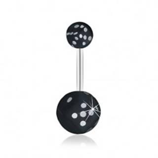 Oceľový piercing do pupku, čierna hracia kocka v čírej guličke, glazúra