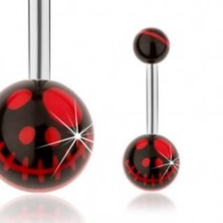 Oceľový piercing do pupku, čierne guličky, motív lebky z animovaného filmu
