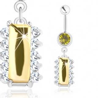 Oceľový piercing, strieborný odtieň, žltý zirkónový obdĺžnik, číre zirkóniky