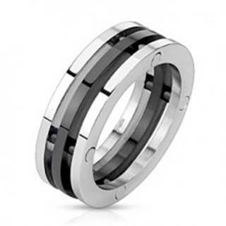 Oceľový prsteň - dvojfarebné oddelené obruče - Veľkosť: 56 mm