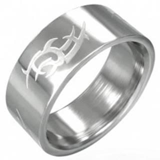 Oceľový prsteň lesklý, matný Tribal symbol - Veľkosť: 53 mm