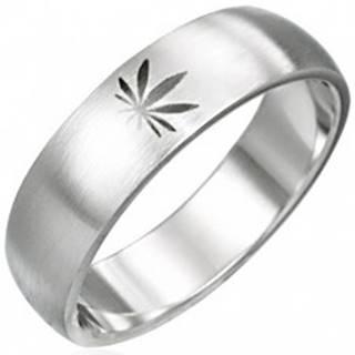 Oceľový prsteň motív marihuana - Veľkosť: 51 mm