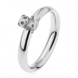 Oceľový prsteň pre deti, strieborný odtieň, malý macko, jemne vypuklé ramená - Veľkosť: 44 mm