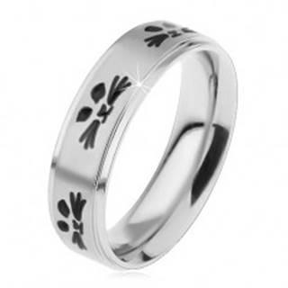 Oceľový prsteň pre deti, strieborný odtieň, tváre mačičiek čiernej farby - Veľkosť: 44 mm