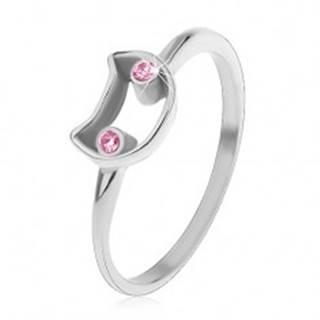 Oceľový prsteň pre deti, úzke ramená, kontúra mačky so svetloružovými očami - Veľkosť: 44 mm