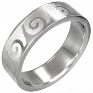 Oceľový prsteň s motívom vlnka - Veľkosť: 53 mm