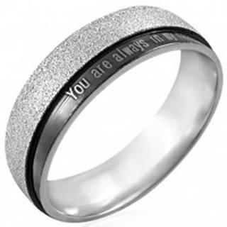 Oceľový prsteň s nápisom - You are always in my heart - Veľkosť: 50 mm