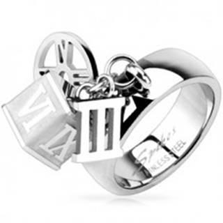 Oceľový prsteň s príveskom kocky, obruče, rímskej číslice tri   - Veľkosť: 49 mm