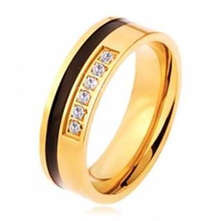 Oceľový prsteň zlatej a čiernej farby, ozdobná línia čírych zirkónov - Veľkosť: 54 mm