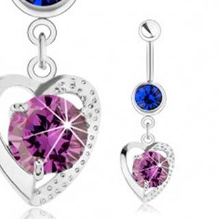 Piercing do brucha, oceľ 316L, obrys srdca, modrý a fialový zirkón