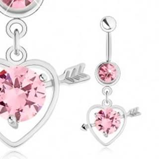 Piercing do pupku, oceľ 316L, obrys srdca so šípom, ružový zirkón