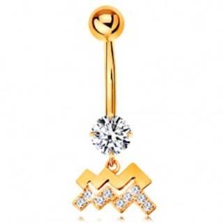 Piercing do pupku v žltom 14K zlate - číry zirkón, symbol znamenia VODNÁR