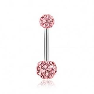 Piercing z chirurgickej ocele, ružové guličky vykladané ligotavými zirkónmi