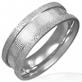 Pieskovaný oceľový prsteň - grécky kľúč - Veľkosť: 51 mm
