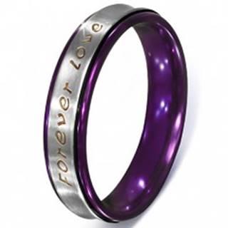 Prsteň striebornej farby z ocele - text Forever Love, fialové okraje - Veľkosť: 51 mm