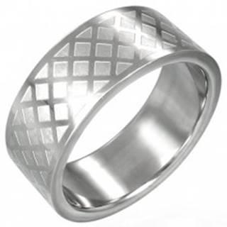 Prsteň z chirurgickej ocele - mriežka - Veľkosť: 59 mm