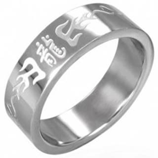 Prsteň z chirurgickej ocele s čínskymi symbolmi - Veľkosť: 53 mm