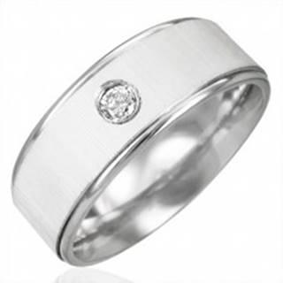 Prsteň z chirurgickej ocele so zirkónom - saténový lesk - Veľkosť: 53 mm