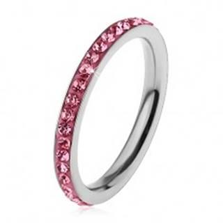 Prsteň z chirurgickej ocele striebornej farby, žiarivé zirkóniky v ružovom odtieni - Veľkosť: 49 mm
