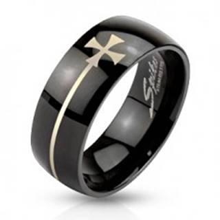Prsteň z ocele čiernej farby s maltézskym krížom - Veľkosť: 59 mm