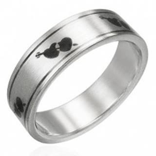 Prsteň z ocele matný - srdiečka a šíp - Veľkosť: 51 mm