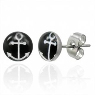 Puzetové oceľové náušnice s bielym symbolom kotvy na čiernom kruhu