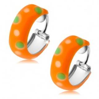 Strieborné náušnice 925, malé oranžové kruhy, zelené a biele bodky, glazúra