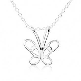 Strieborný náhrdelník 925, motýlik s vyrezávanými krídlami