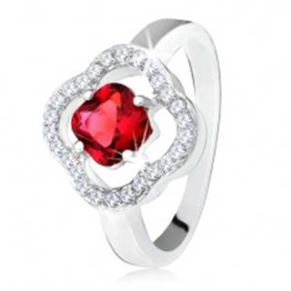 Strieborný prsteň 925, brúsený červený kameň, číre zirkóny, kvet - Veľkosť: 50 mm