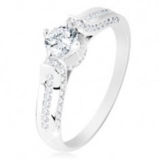Strieborný prsteň 925, číra zirkónová línia, okrúhly zirkónik v ozdobnom kotlíku - Veľkosť: 49 mm