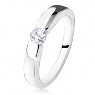 Strieborný zásnubný prsteň 925, hladké a lesklé ramená, okrúhly zirkón - Veľkosť: 48 mm