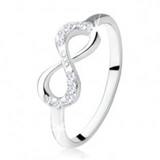 Strieborný zásnubný prsteň 925, ležiaca osmička, číre zirkóny - Veľkosť: 49 mm