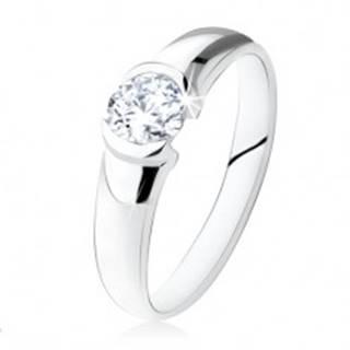 Strieborný zásnubný prsteň 925, okrúhly číry kamienok, lesklý povrch - Veľkosť: 48 mm