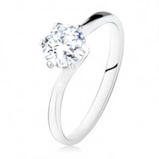 Strieborný zásnubný prsteň 925, okrúhly číry zirkón, úzke ramená - Veľkosť: 49 mm