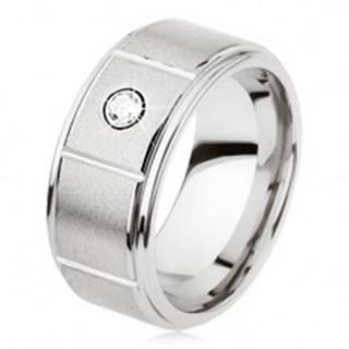 Tungstenový prsteň striebornej farby so zárezmi, matný sivý povrch, zirkón - Veľkosť: 49 mm