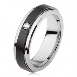 Volfrámový prsteň striebornej farby, čierny keramický pás, zirkón - Veľkosť: 49 mm