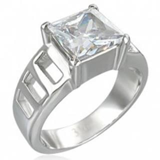 Zásnubný prsteň z veľkým štvorcovým zirkónom a šiestimi otvormi - Veľkosť: 51 mm