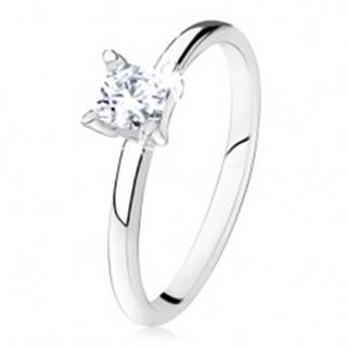 Zásnubný prsteň zo striebra 925, hladké ramená, zirkónový štvorec - Veľkosť: 49 mm