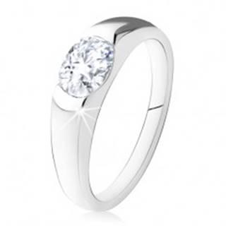 Zásnubný prsteň zo striebra 925, oválny číry kamienok, hladké ramená - Veľkosť: 48 mm