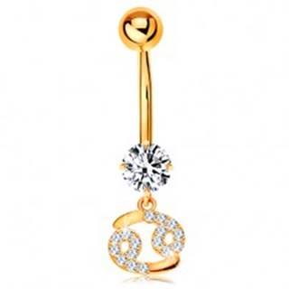 Zlatý 14K piercing do bruška - číry zirkón, ligotavý symbol zverokruhu - RAK