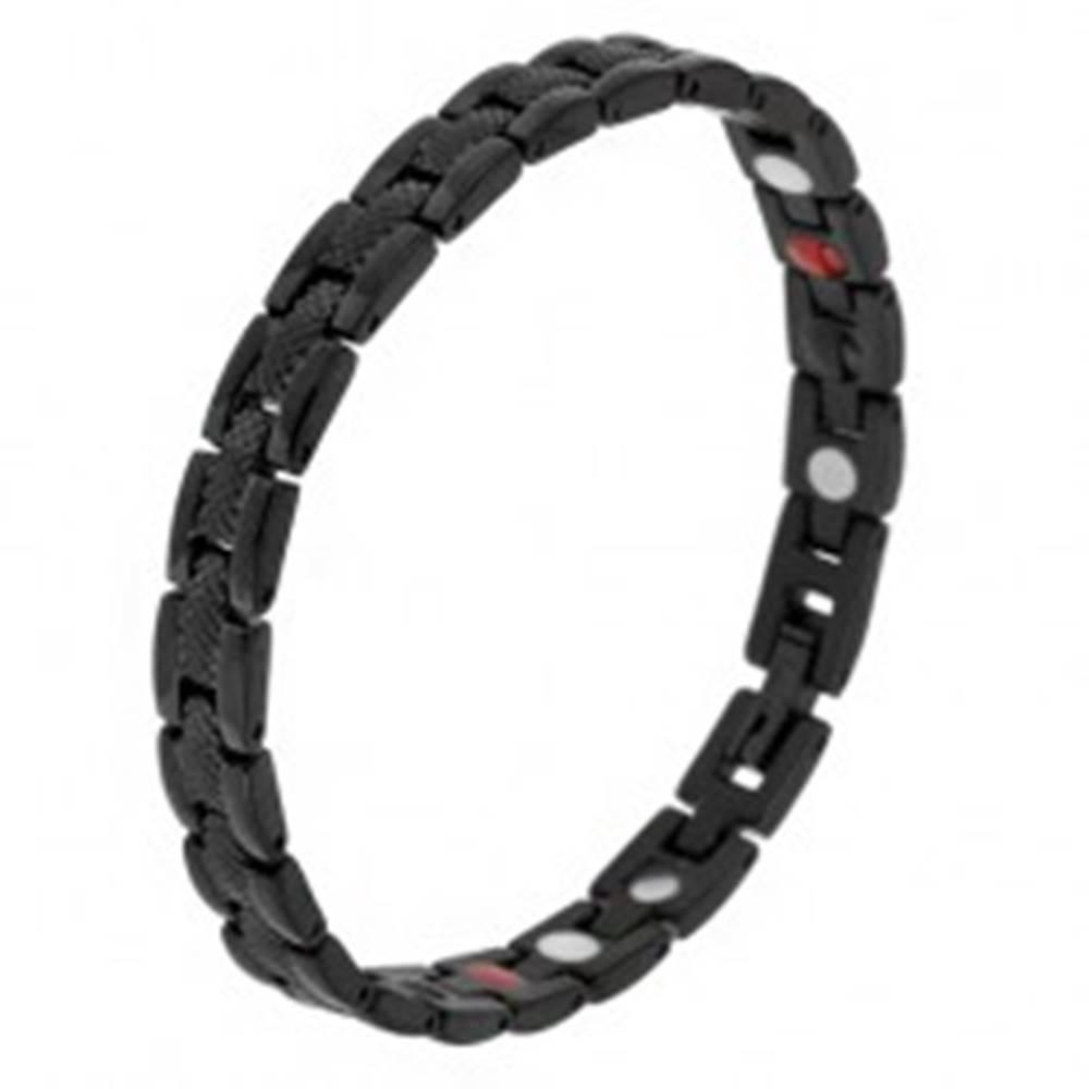 """Šperky eshop Čierny magnetický náramok z ocele, hadí vzor, """"Y"""" články, guličky"""