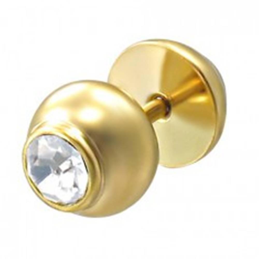 Šperky eshop Falošný piercing zlatej farby s kameňom