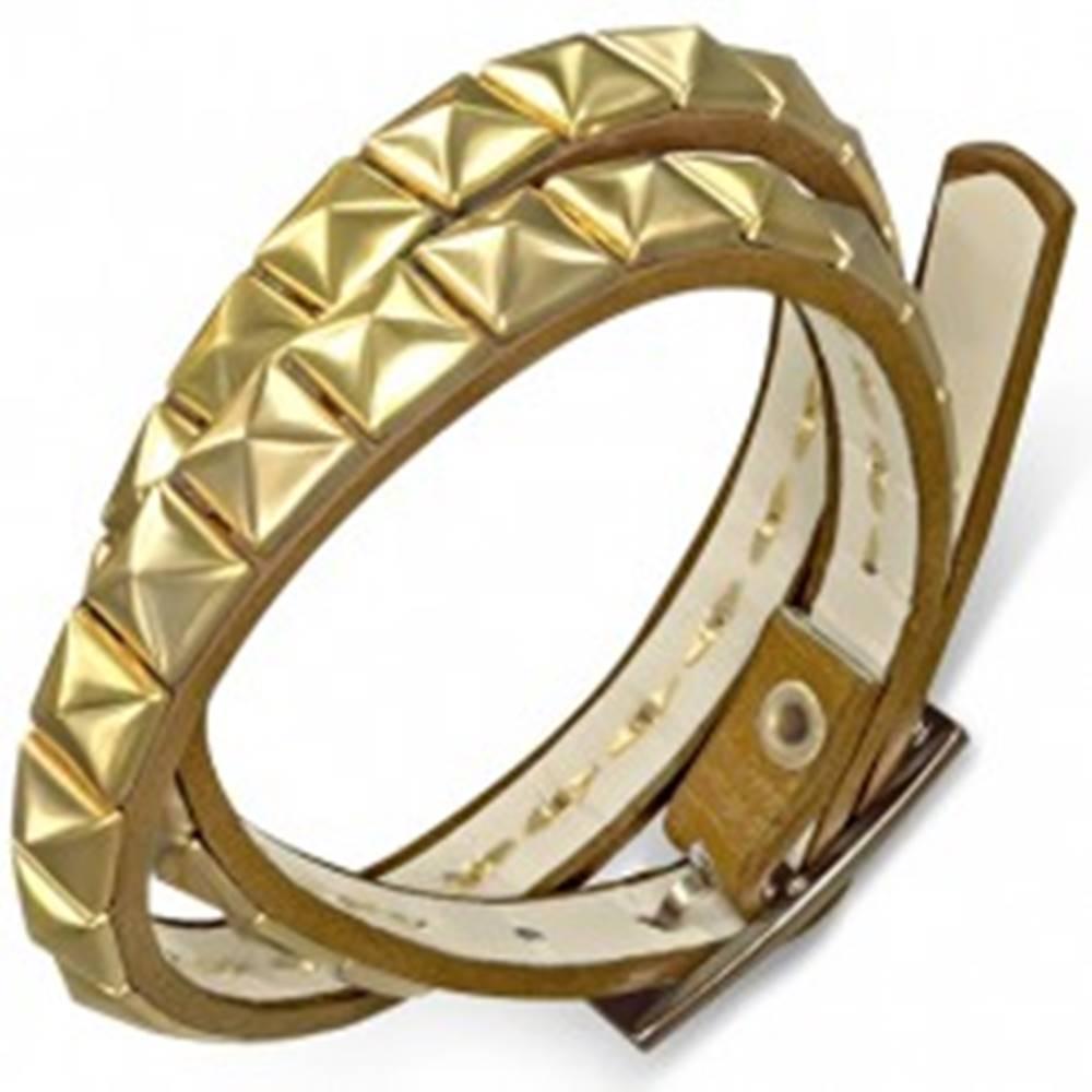 Šperky eshop Koženkový náramok na dvojité ovitie, hnedý, pyramídky