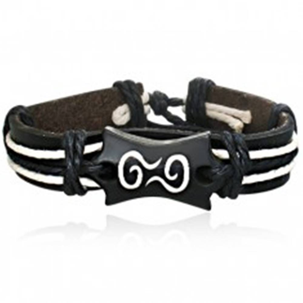 Šperky eshop Kožený náramok - čierny pás so šnúrkami a symbol špirály
