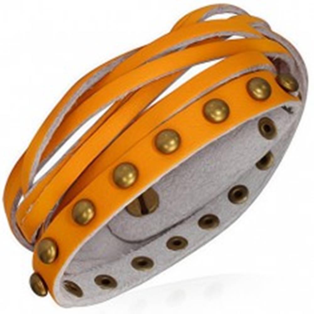 Šperky eshop Kožený náramok - oranžové pásiky, zlaté polgule a pletenec