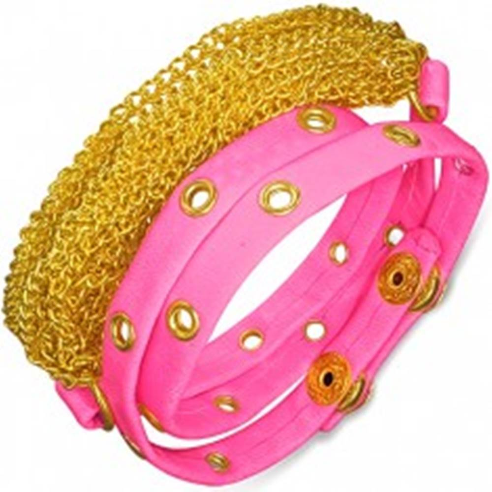 Šperky eshop Kožený náramok - ružový pás s vybíjaním, retiazky zlatej farby